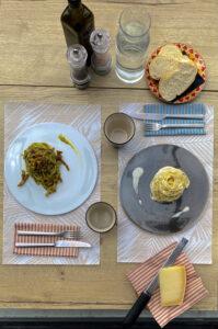 Pasta pelle d'Oca, cacio e pepe e linguine di pistacchio limone e guancial